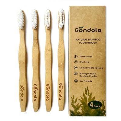 Natural Bamboo Toothbrush Pack Of 4 Adult Size Toothbrushes Eco Friendly Biodegradable BPA-Free